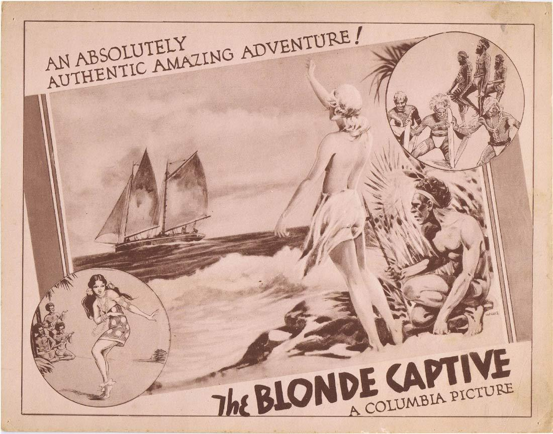 THE BLONDE CAPTIVE Original Lobby Card 1932 Columbia Pictures Australian Aborigine