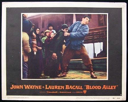 BLOOD ALLEY '55-John Wayne Lauren Bacall US Lobby card #8