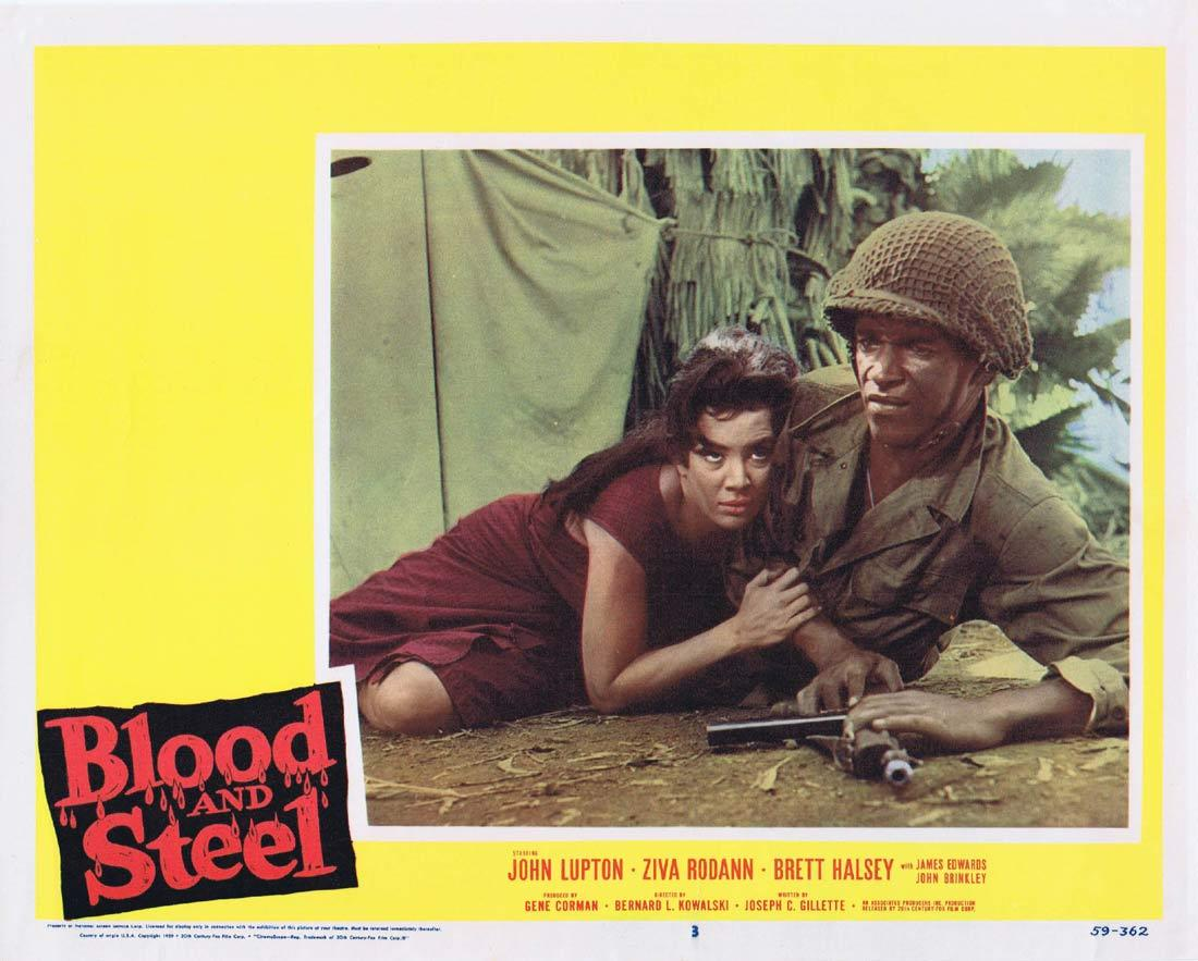 BLOOD AND STEEL Lobby Card 3 John Lupton James Edwards Brett Halsey 1959