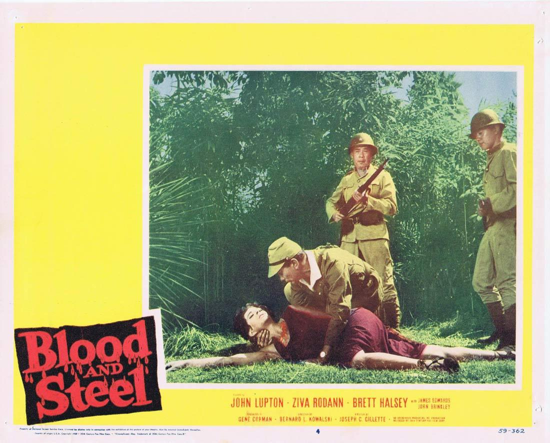BLOOD AND STEEL Lobby Card 4 John Lupton James Edwards Brett Halsey 1959