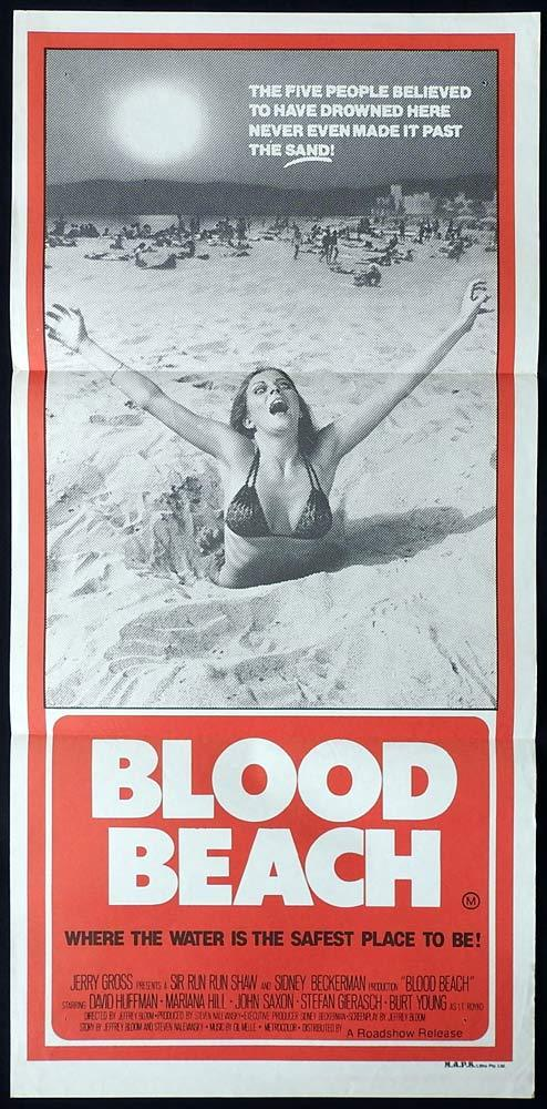 BLOOD BEACH daybill Movie poster David Huffman Marianna Hill