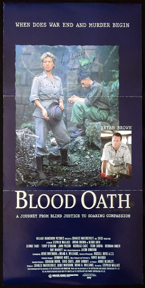 BLOOD OATH Original Daybill Movie poster RAY BARRETT Autograph