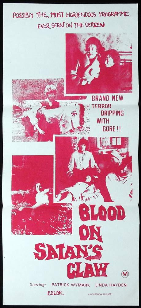 BLOOD ON SATAN'S CLAW Original daybill Movie Poster Patrick Wymark Linda Hayden Horror
