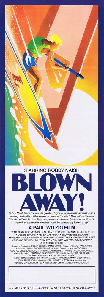 BLOWN AWAY 1985 Robby Nash Classic SURFING Daybill Movie poster