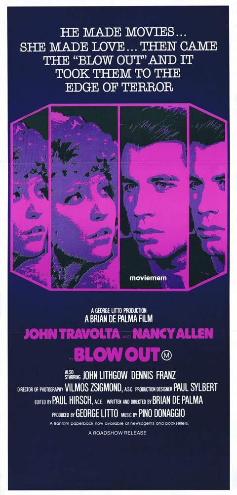 BLOW OUT Original Daybill Movie Poster John Travolta Nancy Allen Brian DePalma