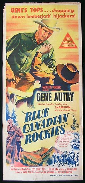 BLUE CANADIAN ROCKIES Movie poster 1952 Gene Autry Rare daybill