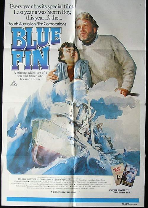 BLUE FIN 1978 Hardy Kruger Greg Rowe AUSTRALIAN FILM 1 sheet poster