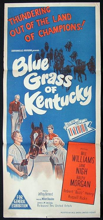 BLUE GRASS OF KENTUCKY Original Daybill Movie Poster Horse Racing Kentuck Derby