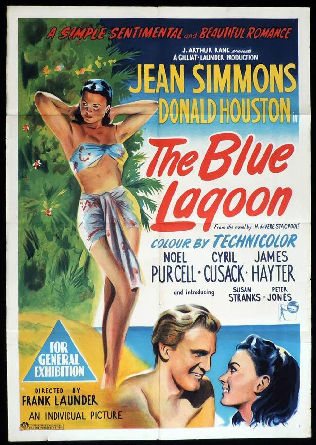THE BLUE LAGOON Original One sheet Movie Poster Jean Simmons Donald Houston