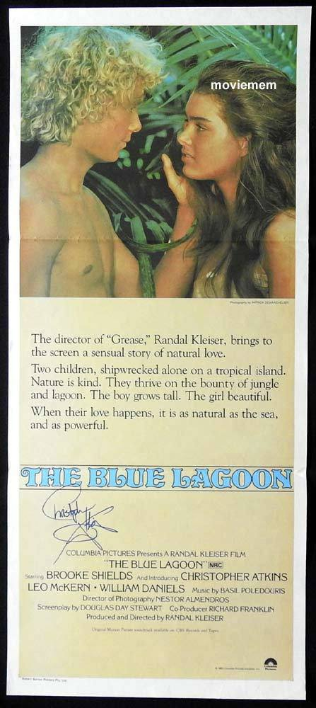THE BLUE LAGOON Original Daybill Movie Poster Autograph Christopher Atkins