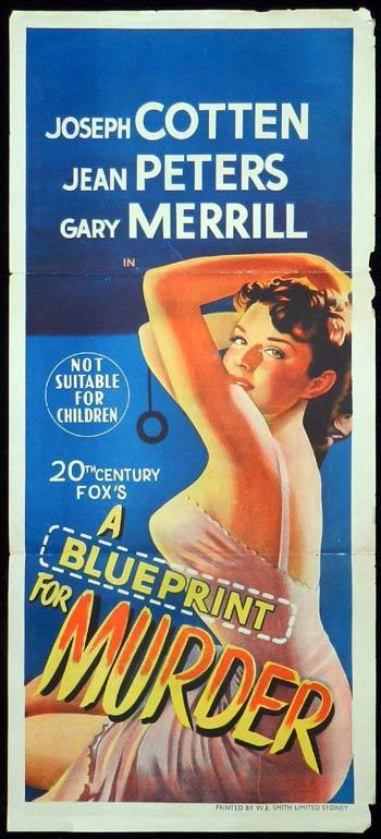 BLUEPRINT FOR MURDER 1953 Jean Peters FILM NOIR BAD GIRL Daybill Movie poster