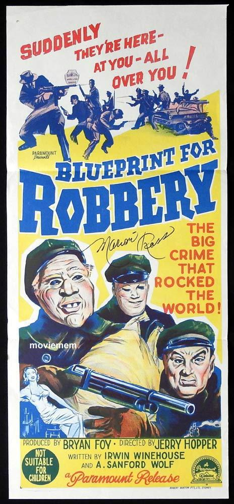 BLUEPRINT FOR ROBBERY Original Daybill Movie Poster MARION ROSS Autograph