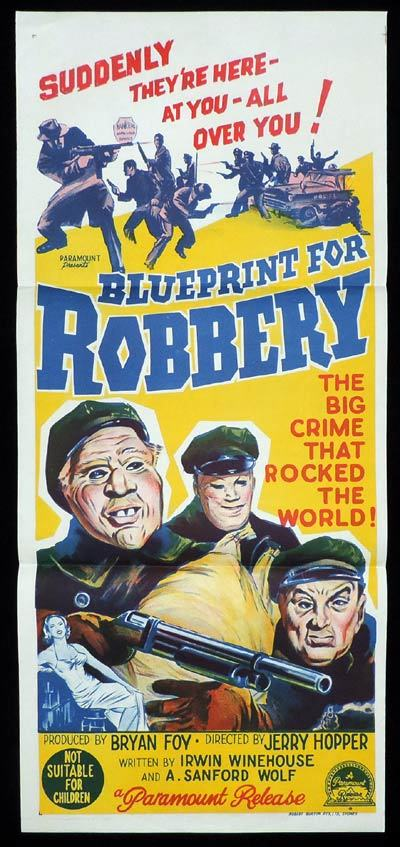 BLUEPRINT FOR ROBBERY Daybill Movie poster Film Noir Crime