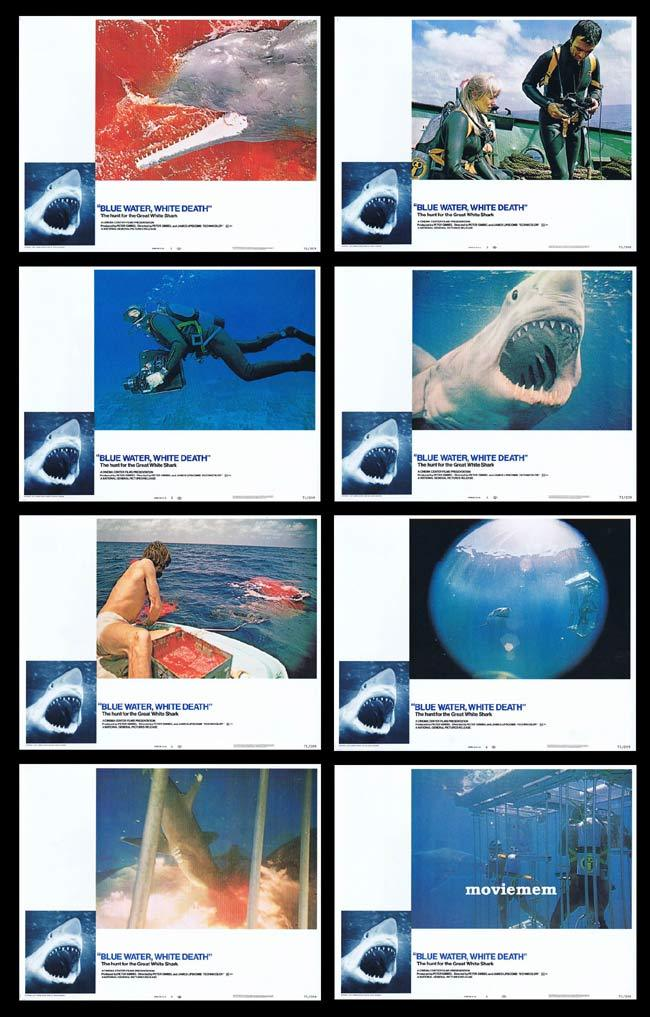 BLUE WATER WHITE DEATH Original Lobby Card set Shark Scuba Diving