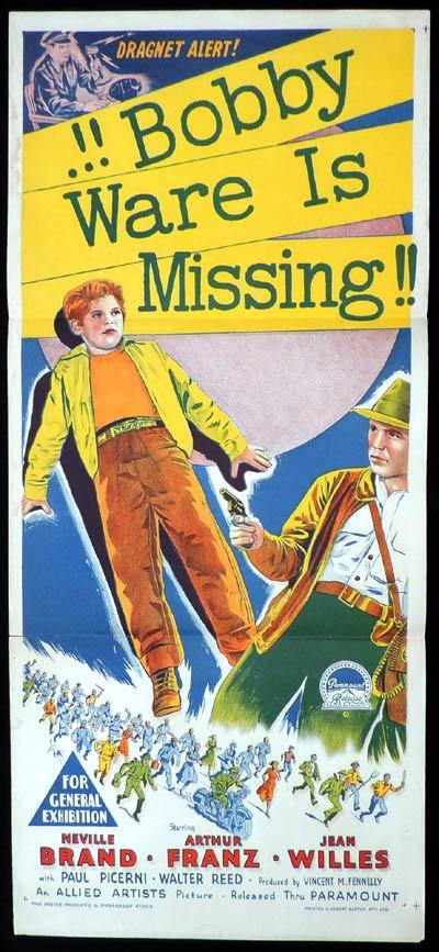 BOBBY WARE IS MISSING Daybill Movie poster RICHARDSON STUDIO Film Noir