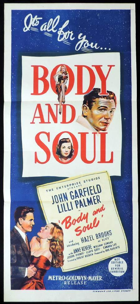 BODY AND SOUL Original Daybill Movie Poster John Garfield Lilli Palmer