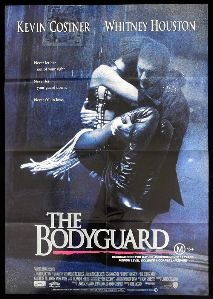 THE BODYGUARD One sheet Movie Poster Whitney Houston Kevin Costner