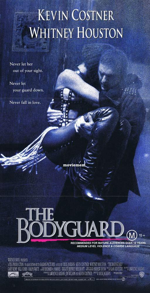 THE BODYGUARD daybill Movie Poster Whitney Houston Kevin Costner