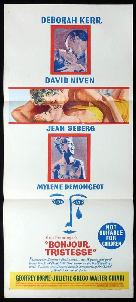 BONJOUR TRISTESSE daybill Movie poster  David Niven Deborah Kerr