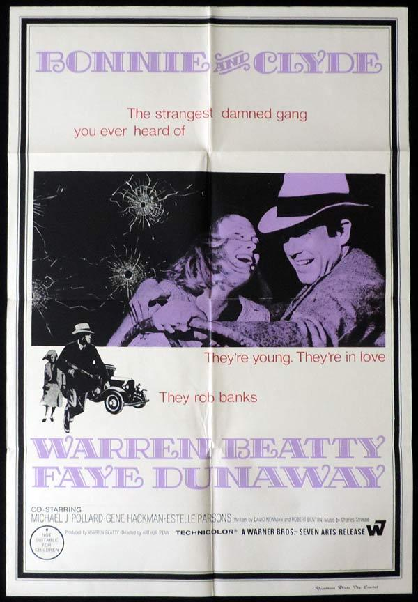 BONNIE AND CLYDE One Sheet Movie Poster Faye Dunaway Warren Beatty