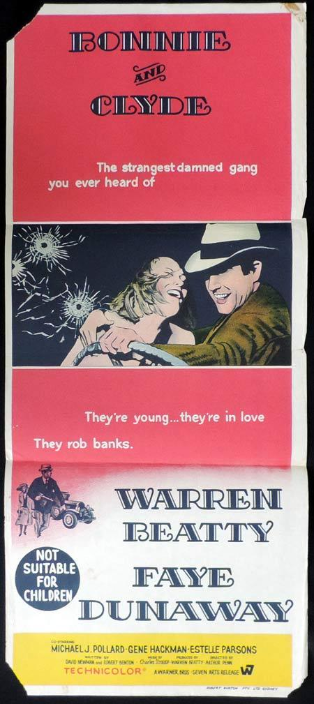 BONNIE AND CLYDE Original Daybill Movie Poster Faye Dunaway Warren Beatty