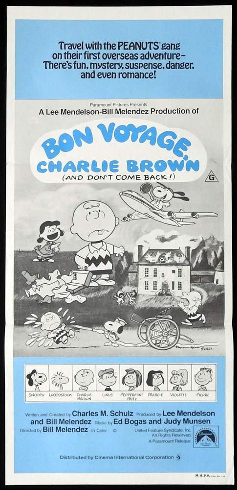 BON VOYAGE CHARLIE BROWN Original Daybill Movie poster Peanuts Snoopy