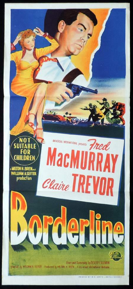 BORDERLINE Original Daybill Movie Poster Fred MacMurray Claire Trevor