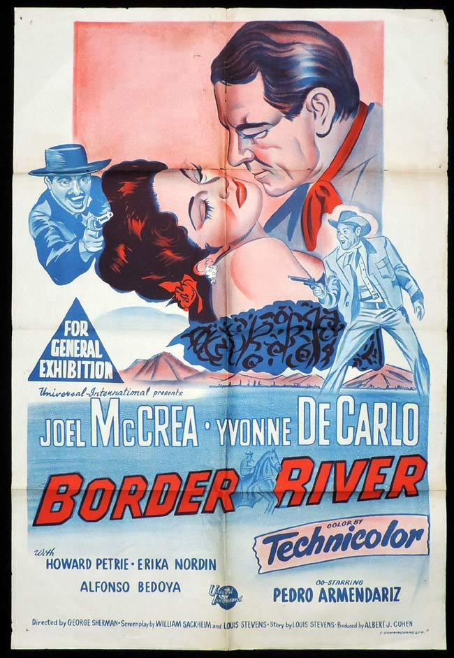 BORDER RIVER One Sheet Movie Poster Joel McCrea