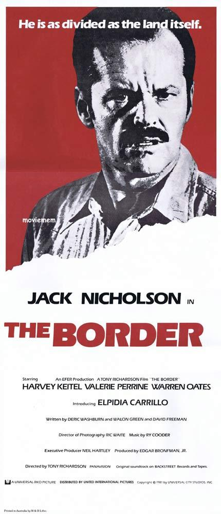 THE BORDER Daybill Movie poster Jack Nicholson Harvey Keitel Valerie Perrine