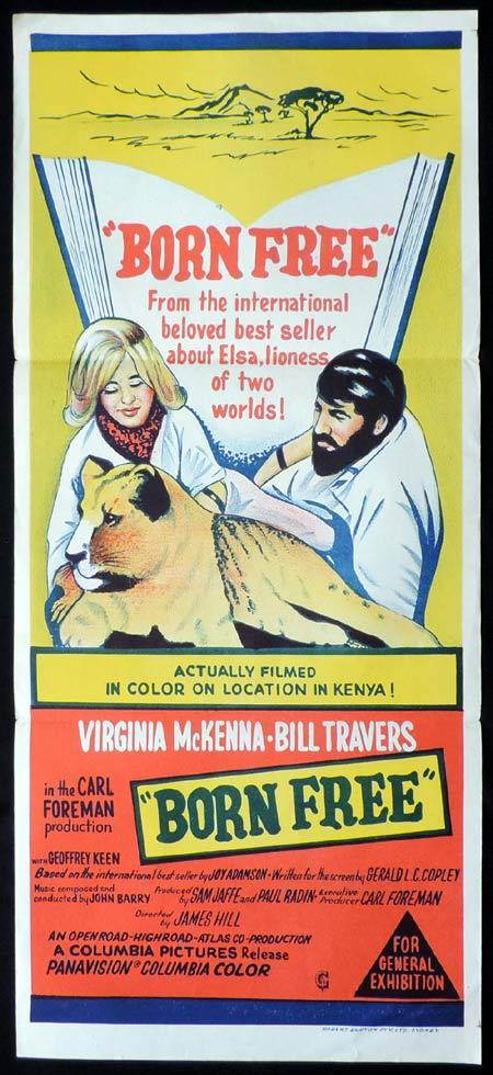 BORN FREE Original Daybill Movie Poster Virginia McKenna Bill Travers