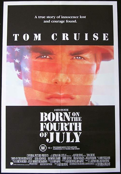 BORN ON THE FOURTH OF JULY Original One sheet Movie poster Tom Cruise Kyra Sedgwick