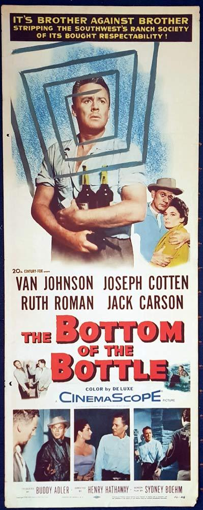 BOTTOM OF THE BOTTLE Original US Insert Movie Poster Joseph Cotten Van Johnson