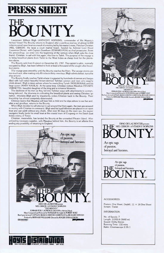 THE BOUNTY Rare AUSTRALIAN Movie Press Sheet