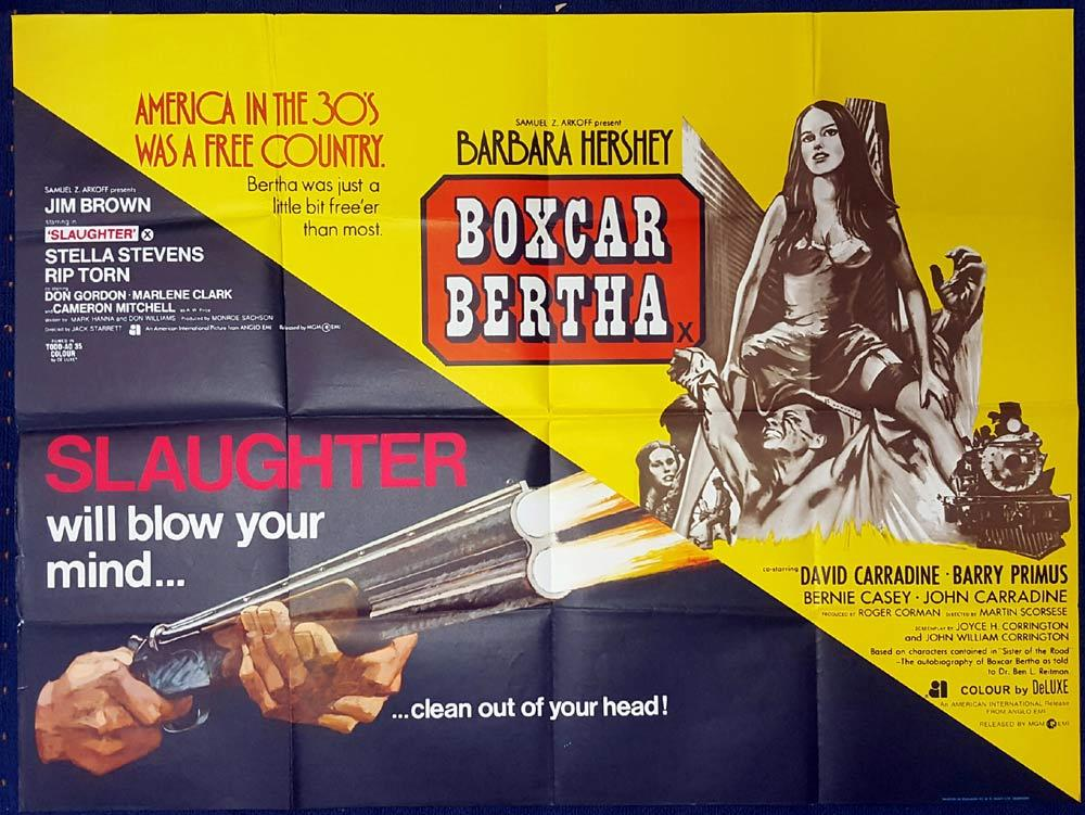BOXCAR BERTHA and SLAUGHTER Double Bill British Quad Movie poster