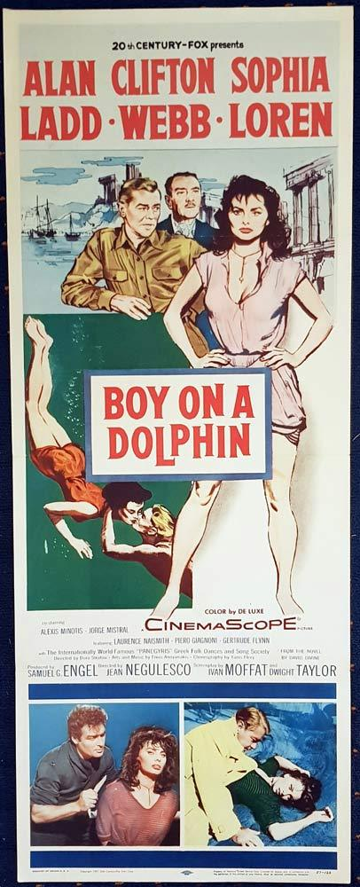 BOY ON A DOLPHIN US Insert Movie Poster Alan Ladd Clifton Webb Sophia Loren