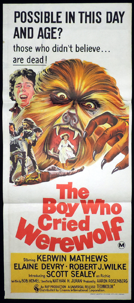 BOY WHO CRIED WEREWOLF Australian Daybill Movie poster Kerwin Mathews