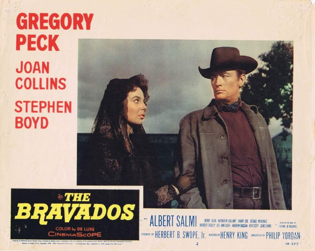 THE BRAVADOS Original Lobby Card Gregory Peck Joan Collins