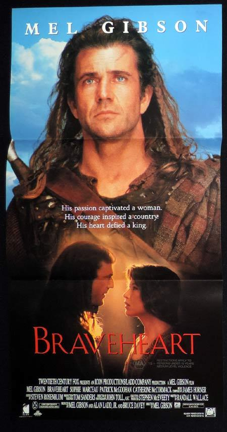 BRAVEHEART Original Daybill Movie Poster Mel Gibson Scotland
