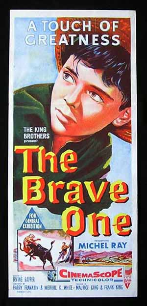 THE BRAVE ONE Daybill Movie poster 1956 Michael Ray Bullfight