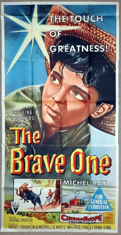 THE BRAVE ONE Original RKO 3 Sheet Movie Poster Michel Ray Bullfight