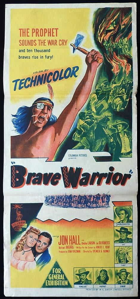 BRAVE WARRIOR Original Daybill Movie Poster Jon Hall 1952