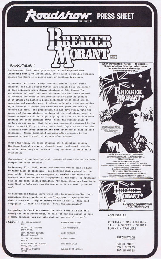 BREAKER MORANT Rare AUSTRALIAN Movie Press Sheet