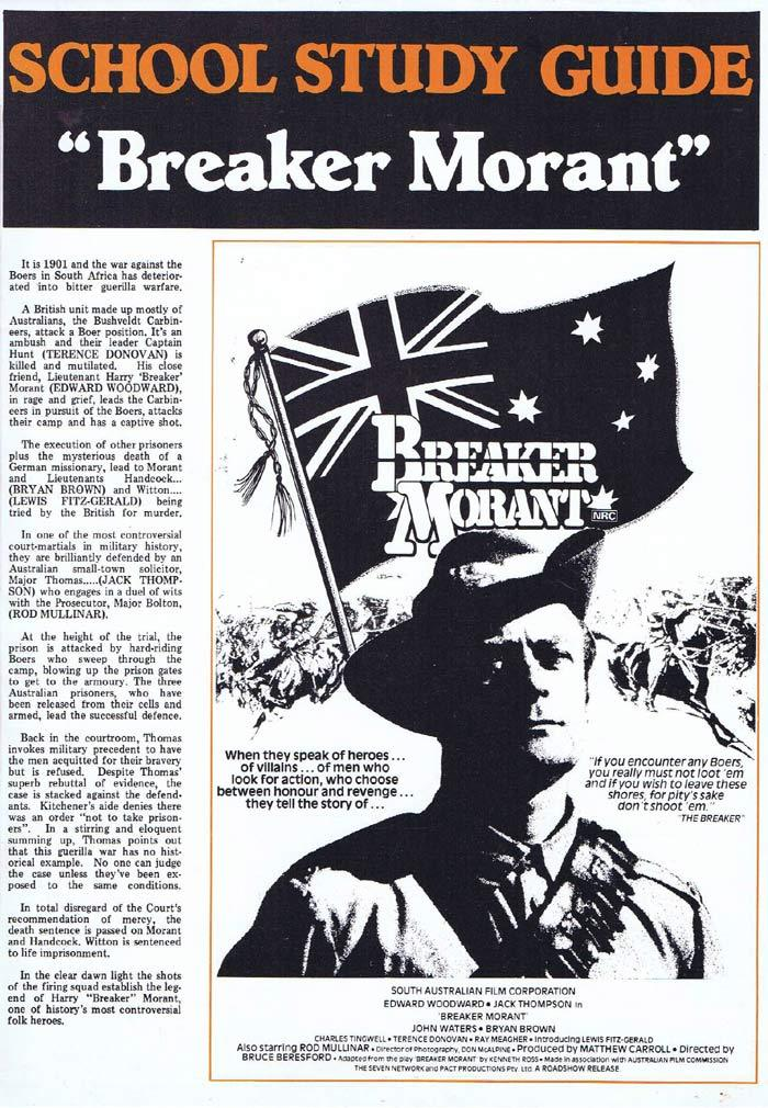BREAKER MORANT Original Australian Movie Study Guide Bruce Beresford Jack Thompson Edward Woodward