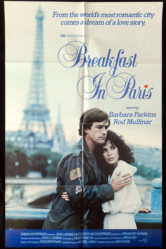 BREAKFAST IN PARIS One sheet Movie Poster 1982 Rod Mullinar Barbara Parkins