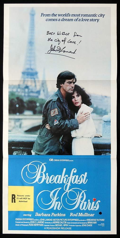 BREAKFAST IN PARIS Original Daybill Movie poster AUTOGRAPHED John Lamond