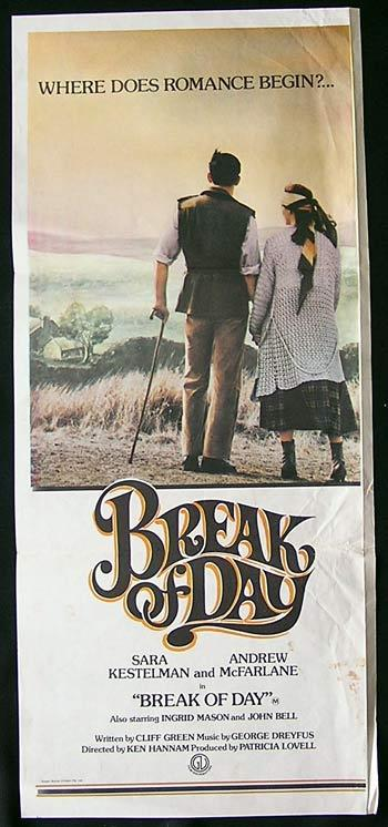 BREAK OF DAY Movie Poster 1976 RARE daybill Australian Film