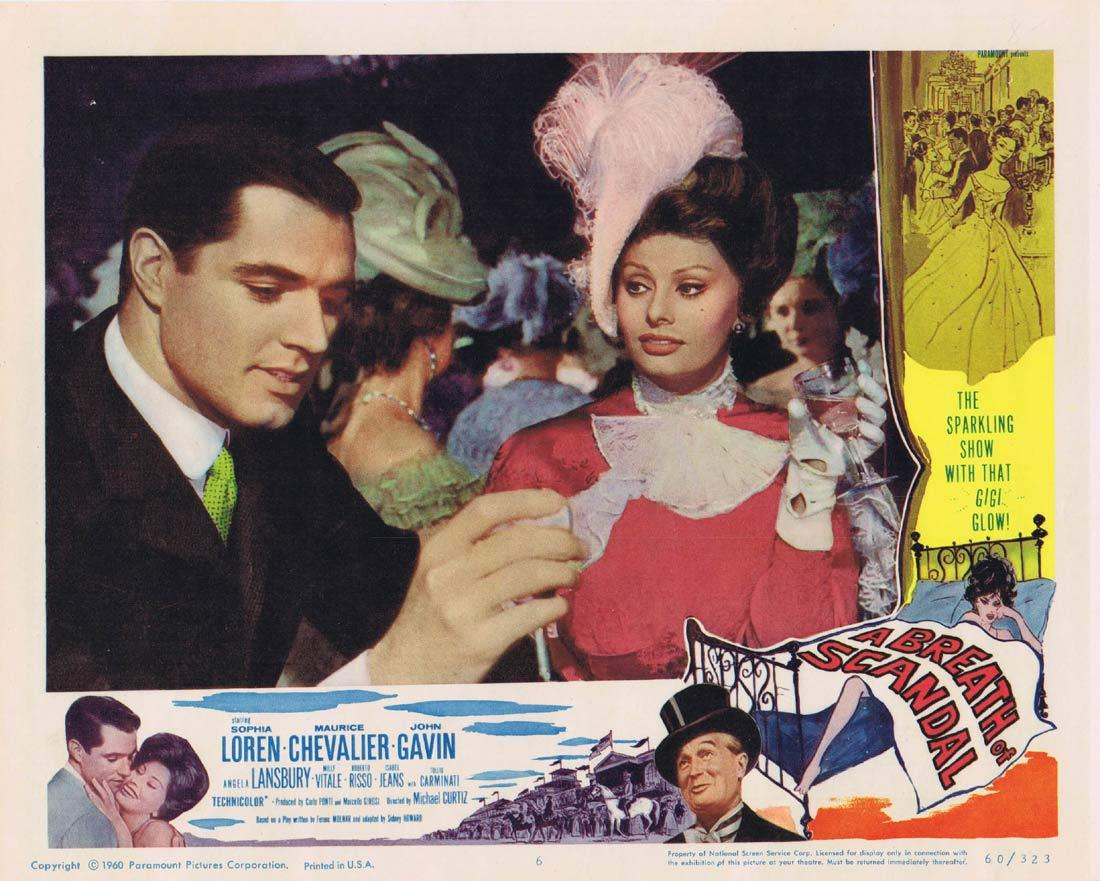 A BREATH OF SCANDAL Lobby Card 6 Sophia Loren Maurice Chevalier John Gavin