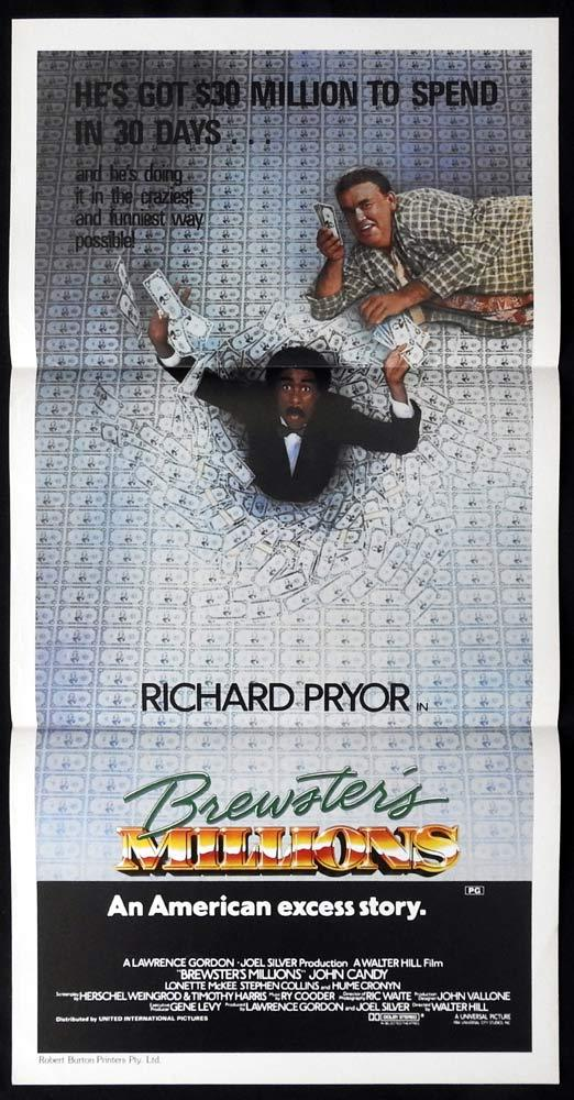BREWSTERS MILLIONS Original Daybill Movie poster Richard Pryor John Candy
