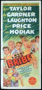 THE BRIBE Original Daybill Movie Poster Robert Taylor VIncent Price