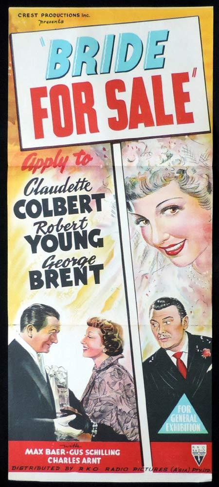 BRIDE FOR SALE Original Daybill Movie Poster RKO Claudette Colbert Robert Young